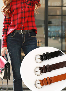Simple Circle Buckle Belt, Styleonme