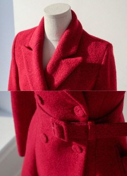 Belted Double-Breasted Wool Flared Coat, Styleonme