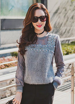 Pearl Decorated Lace Angora Fur Knit Top, Styleonme