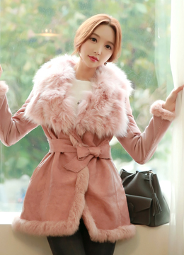 Fox Fur Wide Collar Mustang Coat, Styleonme