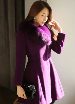Fox Fur Collar Single Button Wool Coat, Styleonme