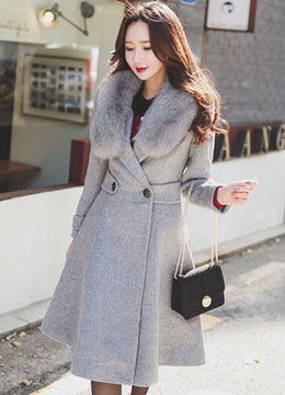 Flared Long Wool Coat, Styleonme