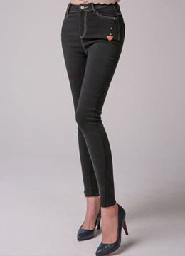 Elastic Waist Band Fleece-lined Skinny Pants, Styleonme