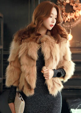 Beige Genuine Fox Fur Jacket, Styleonme