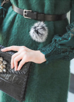 Fluffly Rabbit Fur Ball Belt, Styleonme