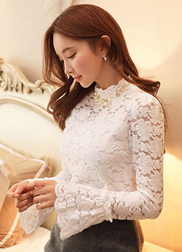 Floral Lace Bell Sleeve Fleece-lined Blouse Tee, Styleonme
