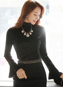 High Neck Bell Sleeve Velvet Blouse, Styleonme