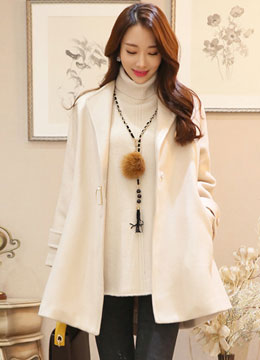 Loose Fit A-Line Wool Coat, Styleonme