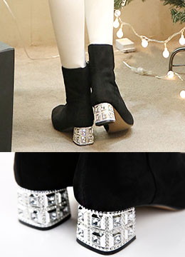 Jeweled High Heel Suede Boots, Styleonme