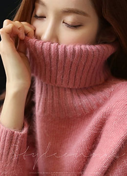Side Slit Turtleneck Angora Knit Sweater, Styleonme