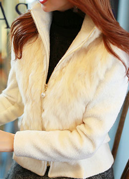 Rabbit Fur Pearl Zipper Detail Jacket, Styleonme