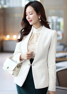 Jeweled Brooch Closure Velvet Collarless Jacket, Styleonme