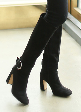 Side Buckle Suede Long High Heel Boots, Styleonme