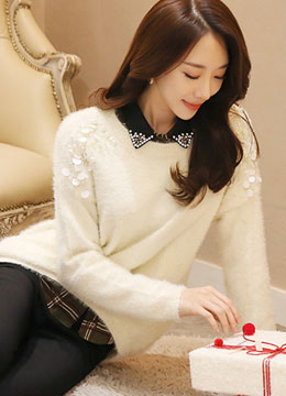 Pearl and Sequin Embellished Round Neck Knit Sweater, Styleonme
