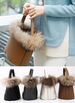 Raccoon Fur Trim Bucket Tote Bag, Styleonme