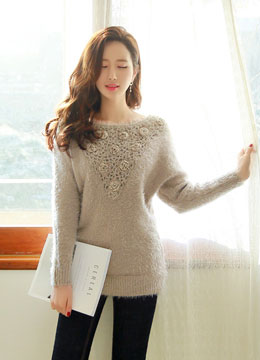 Flower Detail Boat Neck Knit Sweater, Styleonme