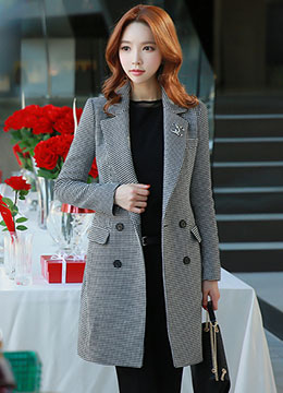 Houndstooth Patterned Double-Breasted Long Jacket, Styleonme
