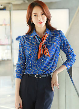 Luxury Keychain Print Collared Blouse, Styleonme