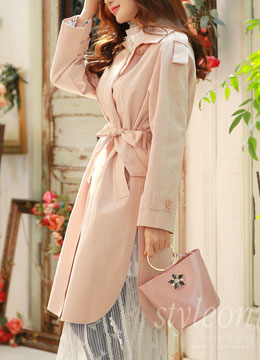 Side Slit Detail Double-Breasted Trench Coat, Styleonme