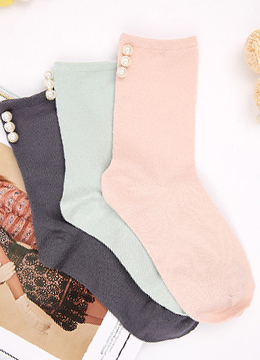 Pearl Detail Pastel Color Socks, Styleonme
