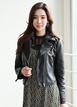 Faux Leather Rider Jacket, Styleonme