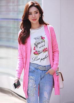 Bright Color Open-front Long Cardigan, Styleonme
