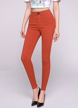 High-Waisted Elastic Waist Band Skinny Pants, Styleonme