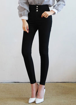 Front Button Lace-up Back Skinny Pants, Styleonme