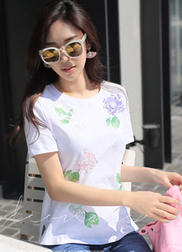 Sequin Flower T-Shirt, Styleonme