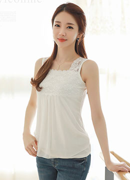 Floral Lace Chiffon Shirred Detail Tank Top, Styleonme