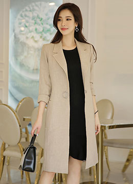 Single Button Linen Long Jacket, Styleonme