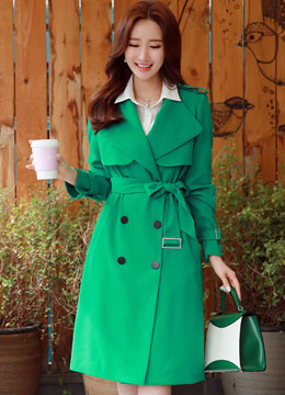 Classic Double-Breasted Belted Long Trench Coat, Styleonme