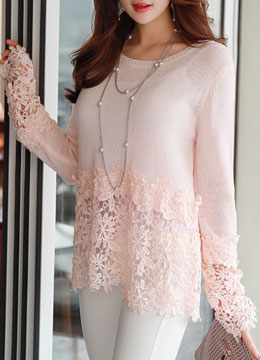Romantic Floral Lace Detail Knit Tee, Styleonme