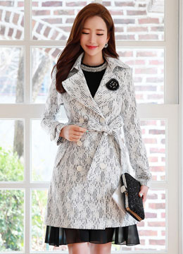 Romantic Floral Lace Double-Breasted Trench Coat, Styleonme