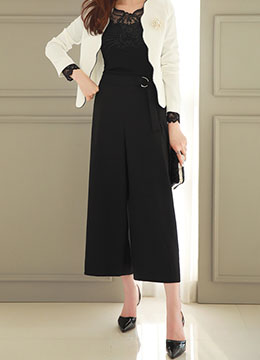 Simple Buckle Wide Leg Pants, Styleonme