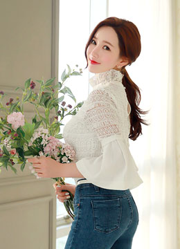 High-Neck Ribbon Sleeve Detail Lace Blouse, Styleonme