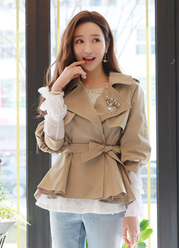 Flared Short Trench Coat, Styleonme