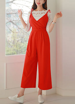 Tie Shoulder Strap Wide Leg Jumpsuit, Styleonme