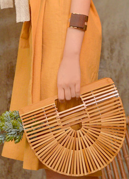 Natural Wood Round Clutch Bag, Styleonme