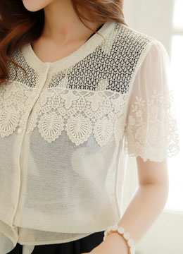 Floral Lace Sheer Short Sleeve Cardigan, Styleonme