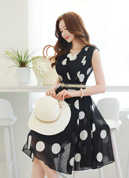 Polka Dot Belted Sleeveless Flared Dress, Styleonme