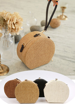Mini Round Wood Clutch Bag, Styleonme