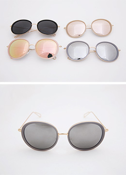 Gold Accent Round Reflective Sunglasses, Styleonme