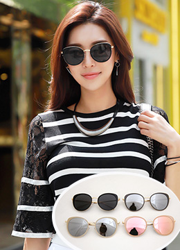 Gold Accent Oversize Reflective Sunglasses, Styleonme