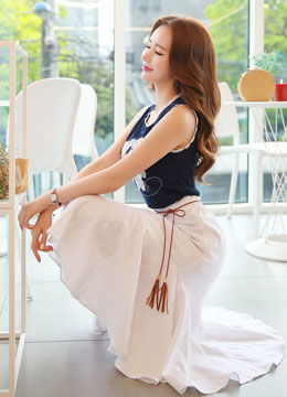 Linen Long Flared Skirt, Styleonme