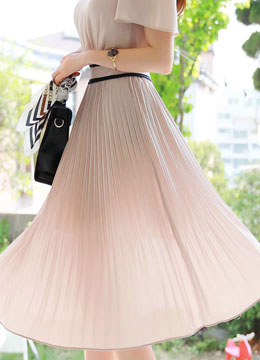 Short Sleeve Pleated Long Dress, Styleonme