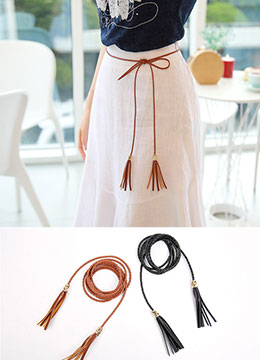 Tassel Detail Braided Belt, Styleonme