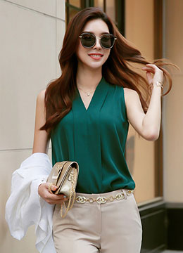 V-Neck Sleeveless Blouse, Styleonme
