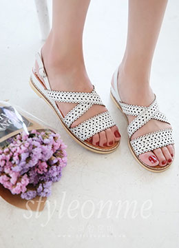 Laser Cut Flat Sandals, Styleonme