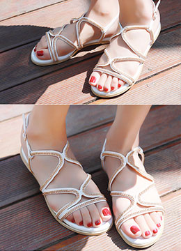 Chain Strap Flat Sandals, Styleonme